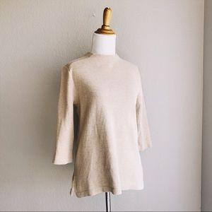 Tan Baumwolle Minimalist High Neck Sweater